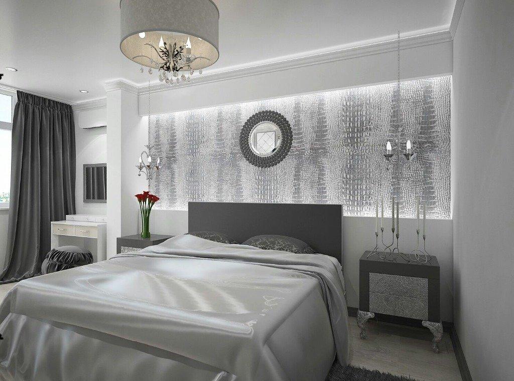 Спальня цвета серебра