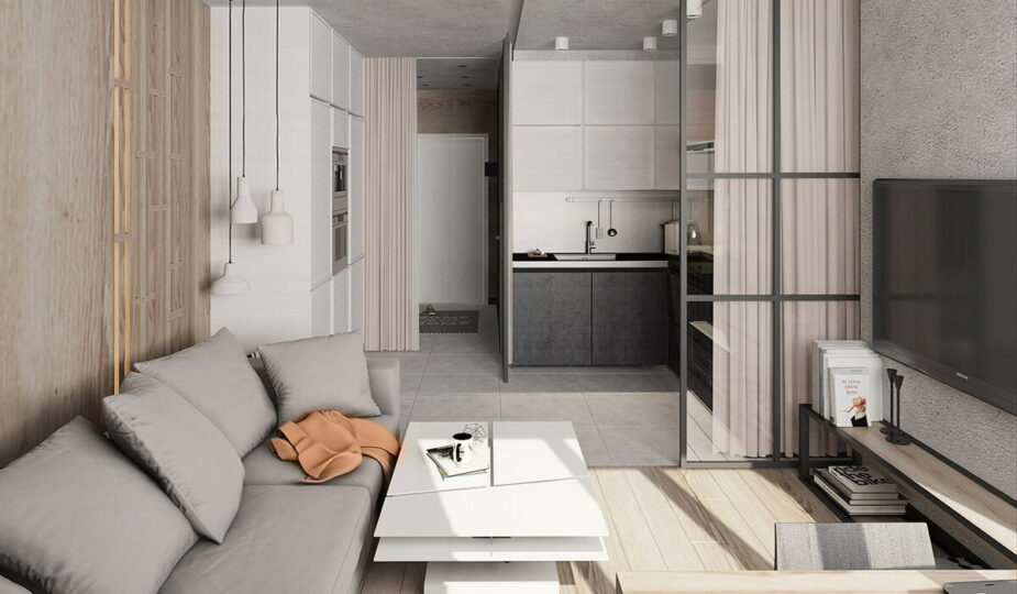 Дизайн квартиры студии площадью 25 м²