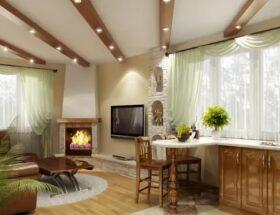 Как оформить интерьер кухни гостиной в частном доме