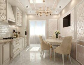 Оформление интерьера кухни в неоклассическом стиле