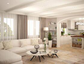 Интерьер гостиной кухни в частном доме
