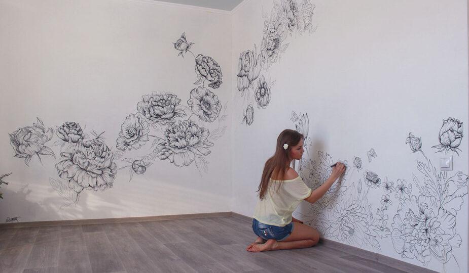 Рисунки на стене в квартире своими руками